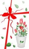 De Kaart van de nieuwjaargift met een Mooi Rozenboeket Royalty-vrije Stock Afbeelding