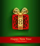 De kaart van de nieuwjaargroet met aanwezig silhouet van Kerstmis Stock Fotografie
