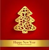 De kaart van de nieuwjaargroet met gouden silhouet van Kerstboom Stock Foto's