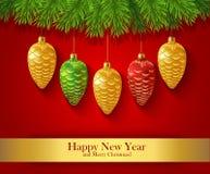 De kaart van de nieuwjaargroet met Kerstmisornamenten Stock Foto's