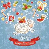 De kaart van de nieuwjaargroet met schapen Royalty-vrije Stock Afbeeldingen