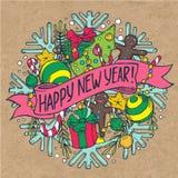 De kaart van de nieuwjaargroet met vakantiemateriaal Stock Afbeelding