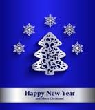 De kaart van de nieuwjaargroet met zilveren silhouet van Kerstboom Royalty-vrije Stock Foto's