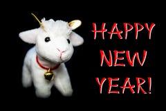 De kaart van de nieuwjaargroet of prentbriefkaar met geit Stock Foto's