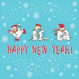 De kaart van de nieuwjaargroet. Sneeuwman Stock Afbeeldingen