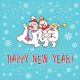 De kaart van de nieuwjaargroet. Sneeuwman. Royalty-vrije Stock Foto