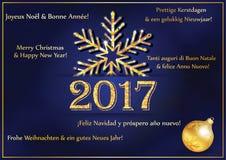 De kaart van de nieuwjaargroet 2017 in vele talen Stock Afbeeldingen
