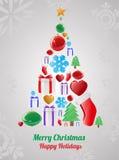 De Kaart van de Objecten van Kerstmis Stock Afbeelding