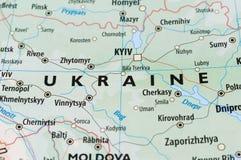 De kaart van de Oekraïne Stock Afbeeldingen