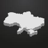 De kaart van de Oekraïne in grijs op een zwarte 3d achtergrond stock illustratie