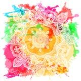 De kaart van de ornamentuitnodiging met mandala Geometrisch cirkelelement dat in vector wordt gemaakt voor de kaarten van de deco Stock Afbeelding