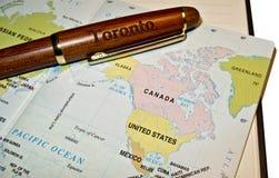 De kaart van de pen & van de wereld Stock Fotografie