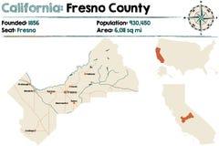 De kaart van de provincie van Californië - van Fresno stock illustratie