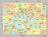 De kaart van de provincie van Colorado stock illustratie