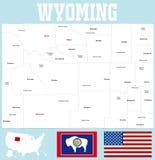 De kaart van de provincie van Wyoming royalty-vrije illustratie