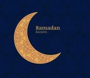 De kaart van de Ramadangroet met gouden decoratieve maan en bloemenoverzees vector illustratie