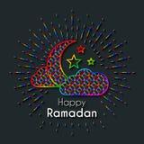De Kaart van de regenbooggroet voor viering van Heilige Maand Ramadan Kare vector illustratie