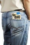De kaart van de reis in achterzak Stock Afbeelding
