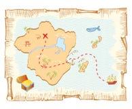 De kaart van de schat. Royalty-vrije Stock Afbeeldingen