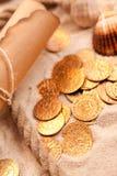 De kaart van de schat en gouden muntstukken Royalty-vrije Stock Foto's