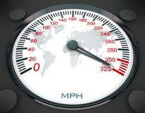 De kaart van de snelheidsmeter en van de wereld Stock Afbeelding