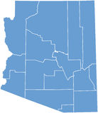 De kaart van de Staat van Arizona door provincies Stock Foto