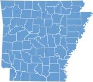 De kaart van de Staat van Arkansas door provincies Royalty-vrije Stock Afbeeldingen