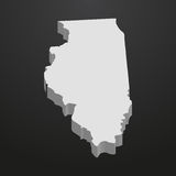 De kaart van de Staat van Illinois in grijs op een zwarte 3d achtergrond Royalty-vrije Stock Afbeelding