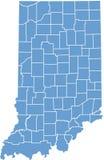 De kaart van de Staat van Indiana door provincies Royalty-vrije Stock Afbeeldingen