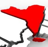 De Kaart van de Staat van New York - Rode Abstracte 3d Illustratie Stock Afbeelding