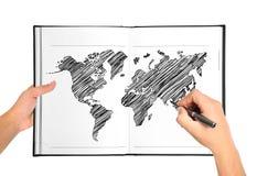 De kaart van de tekeningswereld Royalty-vrije Stock Foto's