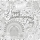 De Kaart van de thanksgiving daygroet Diverse elementen voor ontwerp De vectorillustratie van het beeldverhaal Royalty-vrije Stock Foto