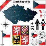 De kaart van de Tsjechische Republiek Stock Foto's