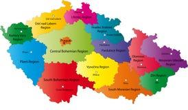 De kaart van de Tsjechische Republiek vector illustratie