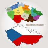 De Kaart van de Tsjechische republiek, vector Stock Foto