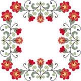 De kaart van de uitnodiging met bloemenornament Stock Foto's