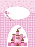 De kaart van de uitnodiging met prinseskasteel en toverstokje. Stock Foto
