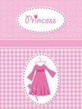 De kaart van de uitnodiging met prinseskleding en toverstokje. Royalty-vrije Stock Fotografie