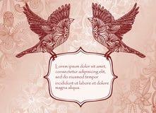 De kaart van de uitnodiging met vogels Stock Foto