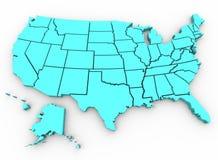 De Kaart van de V.S. - 3D Verenigde Staten geven terug Stock Foto's