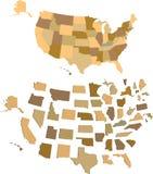 De Kaart van de V.S. Stock Fotografie