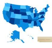De kaart van de V.S. - de kaart van Verenigde Staten met alle 50 staten Stock Foto's
