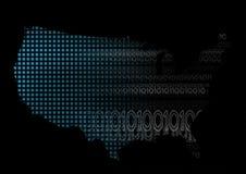 De Kaart van de V.S. met Binaire Code Royalty-vrije Stock Foto's