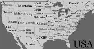 De kaart van de V.S. met de grenzen van de staat en namen Lege zwarte contour ISO vector illustratie