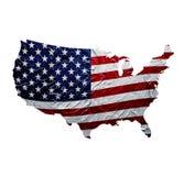 De Kaart van de V.S. met Geschilderde Amerikaanse Vlagtextuur royalty-vrije illustratie