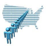 De kaart van de V.S. met lijn van mensen Stock Afbeelding