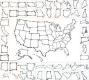 De kaart van de V.S. met staten De slagen van de borstel stock illustratie