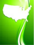 De kaart van de V.S. op groene achtergrond Stock Foto