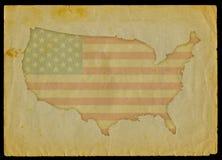 De kaart van de V.S. op oud document Royalty-vrije Stock Foto's
