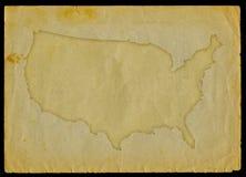 De kaart van de V.S. op oud document Royalty-vrije Stock Fotografie